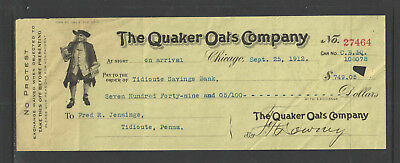 1912 The Quaker Oats Company Chicago Ill Antique Check Great Graphics