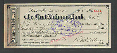 1915 First National Bank Of Ulster Pa Antique Certificate Of Deposit