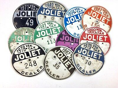 Illinois Dealer Tax Disc Qty 11 Lot Old License Plate Collect Craft Man Cave 49
