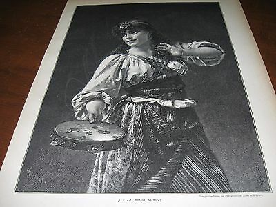 1895 Art Print ENGRAVING - GYPSY GIRL w TAMBOURINE Dancing Dance Music GYPSIES