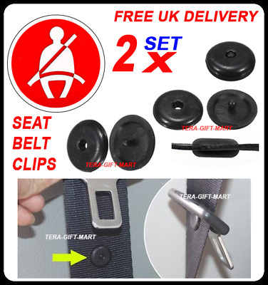 2 X Seat Belt Stopper Buckle Buttons Holders Studs Retainer Pin Clips Universal