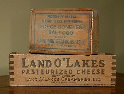 Vintage Land O'Lakes Cheese & Salt Cod Cape Ann Seafoods Wood Box: Primitive