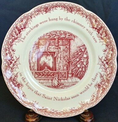 "Twas the Night Before Christmas Noble Excellence 8"" Salad Lunch PLATE Red EUC"