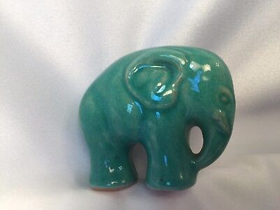 Palshus Style Danish Studio Pottery 1.75 In TINY Green Elephant SIGNED SCULPTURE