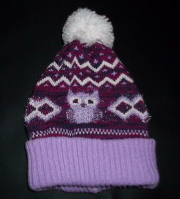 INFANT TODDLER GIRL KNITTED TWO PIECE OWL BEANIE HAT AND MITTEN SET (purple)