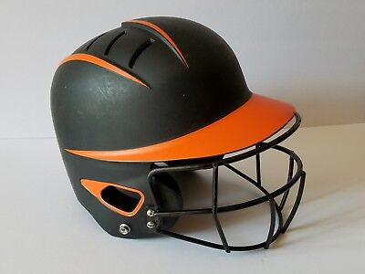 Boombah Fastpitch Softball Batting Helmet w/ Face Mask BBH1 Black and Orange