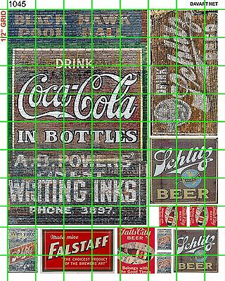 1045 Dave's Decals Ho O S  Lg Schiltz Inks Falstaff Beer Ghost Sign Signage Set