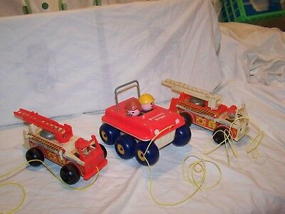 Vintage lot of 3 wooden Fisher Price Pull Toys 2 Fire Trucks 720 Dune Buggy 122