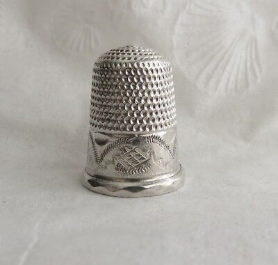 Antique Sterling Silver Tall Wide Band Thimble 1 Pin Hole