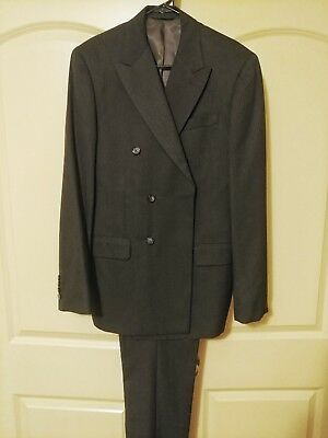 Men's PERRY ELLIS charcoal gray double breasted pinstripe suit sz 40R NEW