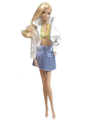 Handmade Doll Fashion White Jacket Outfit Short Skirt & Bra For 11.5 inches Doll