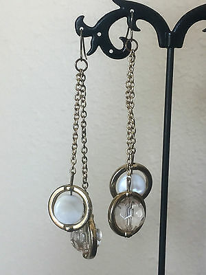 Vintage Faux Mother of Pearl and Faceted Lucite Gold Tone Earrings - Pierced