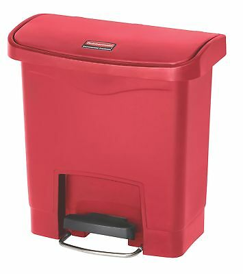 Mercial Slim Jim Front Step-On Trash Can, Plastic, 4 Gallon, Red