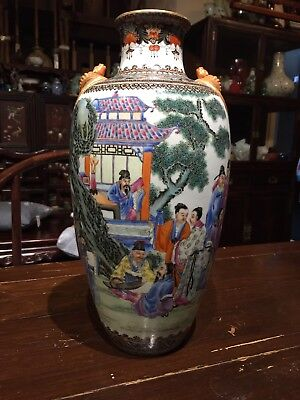 Antique Chinese Old Qianlong Porcelain Big Vase Marked And Signed Asian China