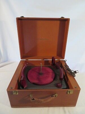 Vintage Electric Columbia Phonograph Record Player in Wooden Carrying Case #204