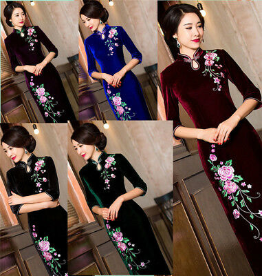 Long Charming Chinese women's dress evening dress Embroidered Cheongsam Qipao