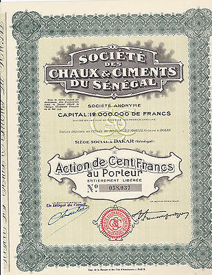 Societe des Chaux & Ciments du Senegal-Action 100 Francs-1929