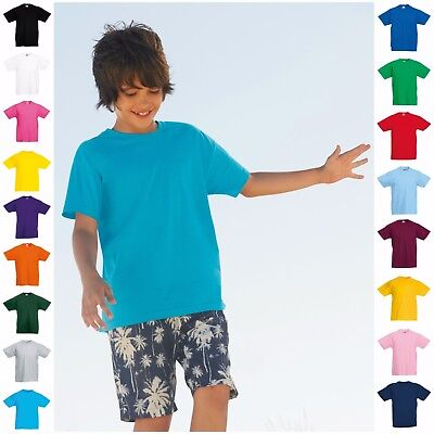 Kids Tshirt Boys Girls Childrens Plain T Tee Shirt Short Sleeve Top Age 1-15