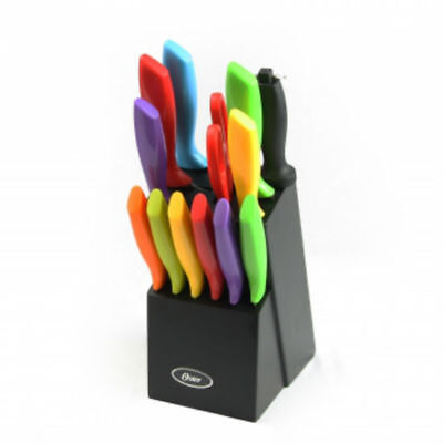 Oster 14pc Precision stamped stainless steel Cutlery Set with Wood Storage Block