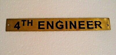 4TH ENGINEER – Marine BRASS Door Sign -  Boat/Nautical - 8 x 1 Inches (7)