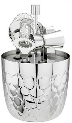 7-Piece Bar Tools Set, Embossed Stainless Ice Bucket w/Cocktail Organizer Stand