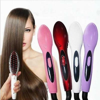 Electric ION Hair Straightener Brush LCD Display Massage Comb Anti Frizz Gift