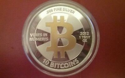 2012 Bitcoin 10 Casascius Silver And Gold Fully Funded Rare Coin 1 of 247