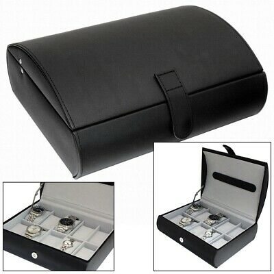 Gents Black Textured Faux Leather 10 Compartment Watch Box Storage Display Case