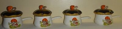 Set Of 4 Vintage Retro Mid Century Merry Mushroom Soup Bowls With Lids