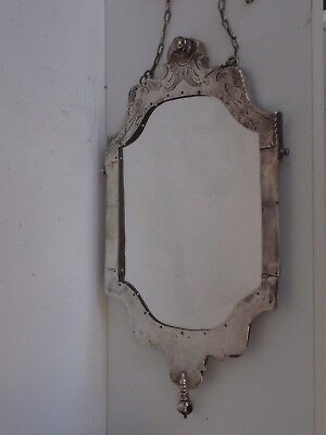 DUTCH SILVER PARROT ENGRAVED MIRROR from 18TH CENTURY PURSE
