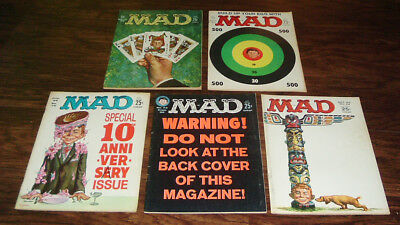 Five Vintage Mad Magazines From 1962