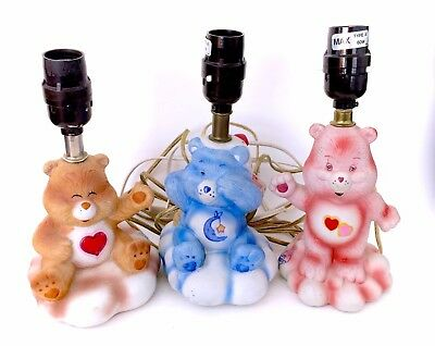 Vintage Care Bears Ceramic Lamp Collection Set Tenderheart Bedtime Love-a-Lot