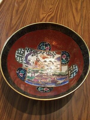 "Signed Oriental Porcelain Hand Painted Bowl 10"" wide 4.5"" tall House Floral"