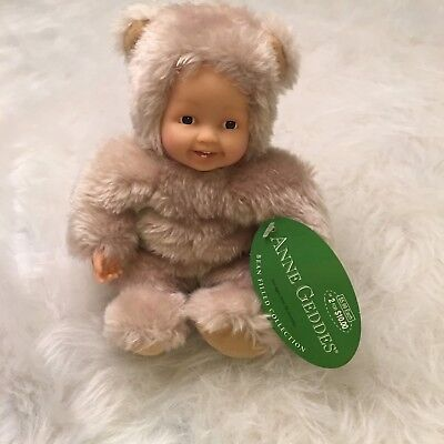 """Anne Geddes 2001 Bean Filled Collection, 9"""" Lt Brwn #525911 Baby in Bear Outfit."""