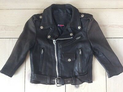 Vintage 1950-60s Kids Child's Black LEATHER MOTORCYCLE Jacket Soft & Comfortable