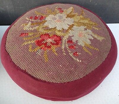 2 Victorian footstools one with needlepoint top