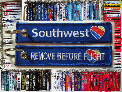 Keyring Southwest Airlines Heart Logo Remove Before Flight tag keychain 4 crews