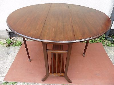 NARROW ANTIQUE MAHOGANY SUTHERLAND TABLE, DROP FLAP TABLE, QUALITY ITEM C1900s.