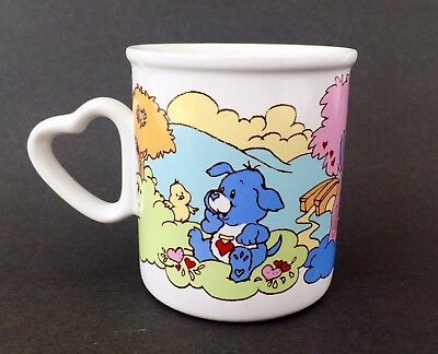 Vintage 1984 Care Bears Cousins Mug Cup American Greeting Stoneware Heart Handle