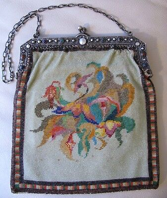 Antique Art Deco Blue Red Purple Jewel 800 Silver Frame Floral Micro Bead Purse