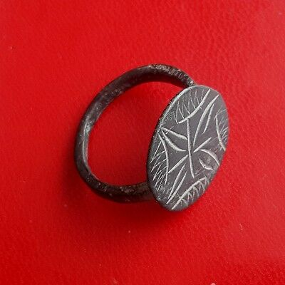 Pretty medieval bronze ring with engrave 16-17 century