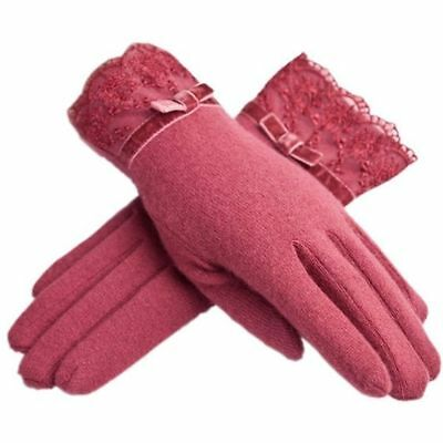 Urban CoCo Womens Thinsulate Insulation Elegant Warm Fleece Lined Gloves (Red)