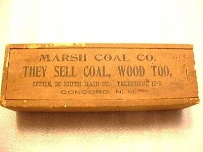 RARE Antique Marsh Coal Co. Concord N.H. Advertising Wooden Dominos & Box