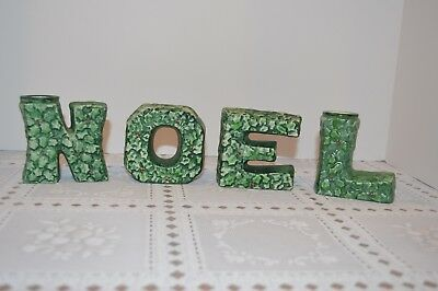 Vintage Lefton Christmas Holly NOEL Letters Candle Holders 674 Japan PERFECT!