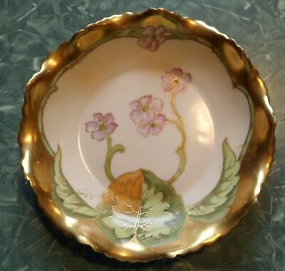 Antique Gold-Plated Elite Works Limoges France Floral Cabinet Fluted Dish Bowl