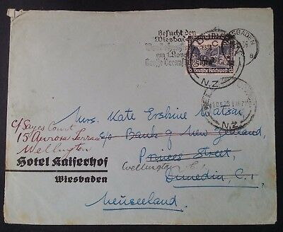 RARE 1936 Germany Censor Cover ties 25+15 Pfg stamp Wiesbaden to New Zealand