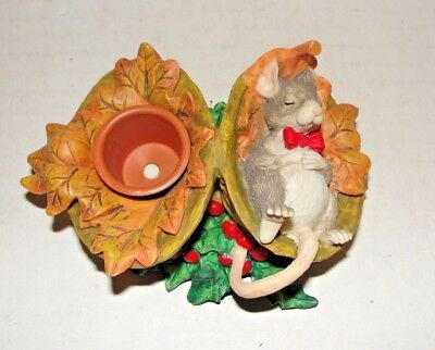 Silvestri Charming Tails Taper Candle Holder Mouse Holly Nuts Autumn Oak Leaves
