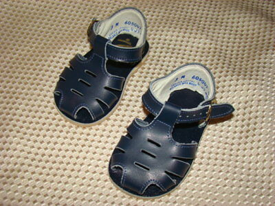 VINTAGE Stride Rite Blue Leather Baby Sandals Shoes Size 3 M 605047