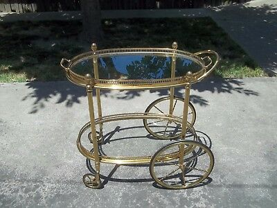 Vtg Mid Century Maison Jansen Hollywood Regency Brass Bar Tea Cart w/ Pineapples