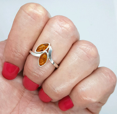 Baltic Amber Ring, Size 7 1/4 US, 925 Sterling Silver, Healing, Item #0006